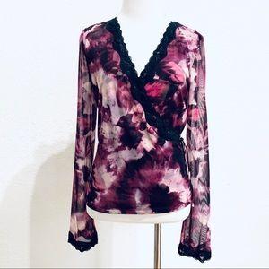 INC Sheer Mesh Floral Faux Wrap Top Lace Trim